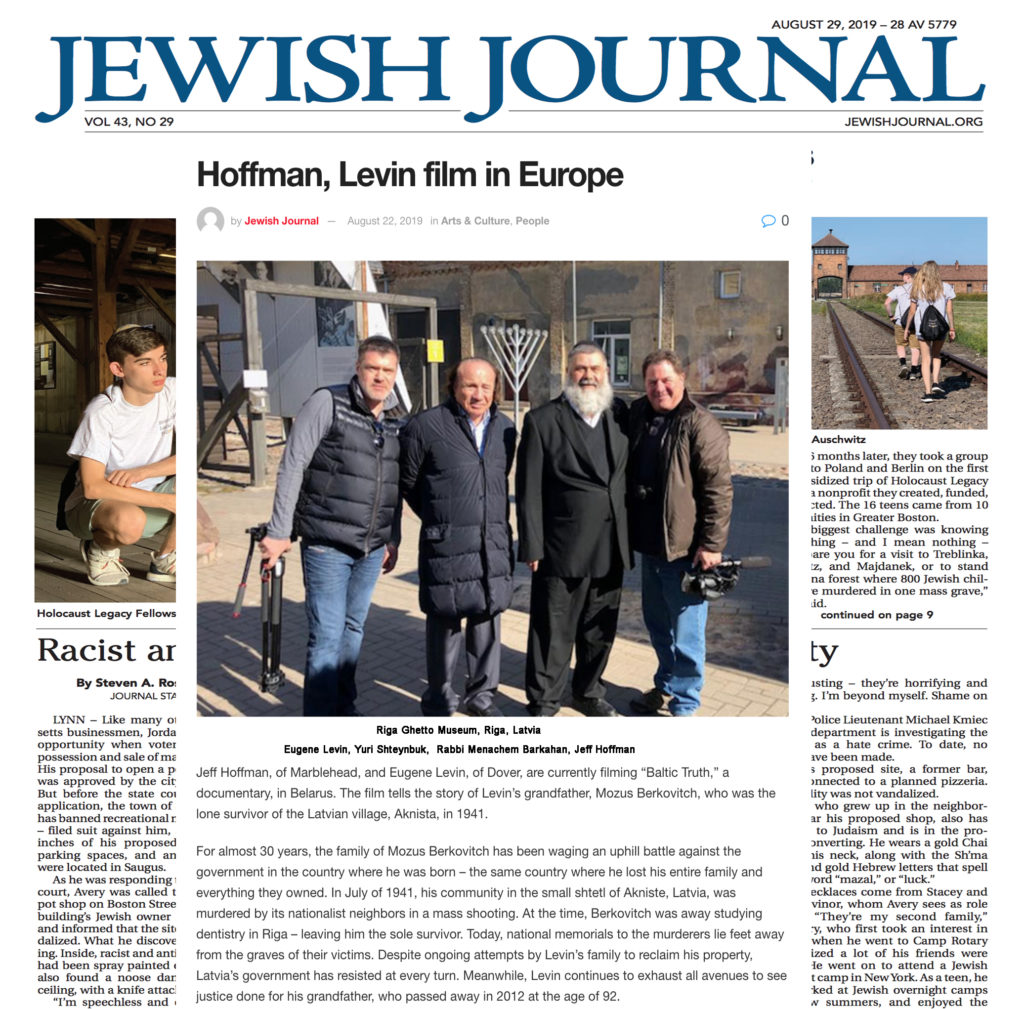 "Boston's Jewish Journal features ""Baltic Truth"""