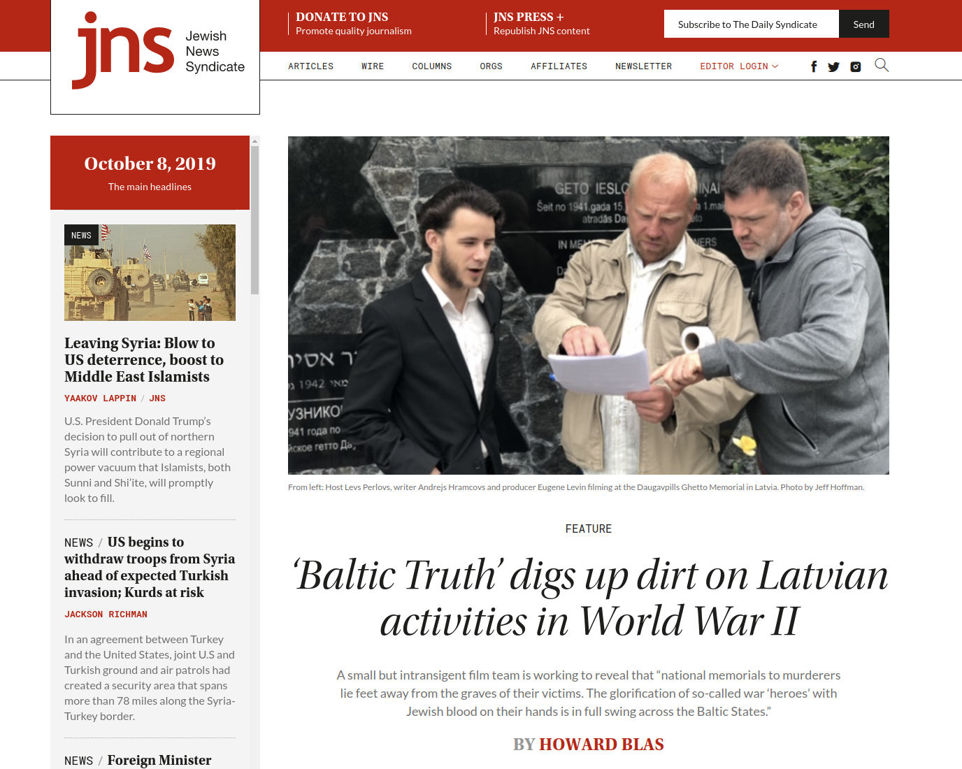 "Jewish News Syndicate feature story on ""Baltic Truth"""